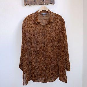 Lane Bryant | Leopard Print Button Down Blouse